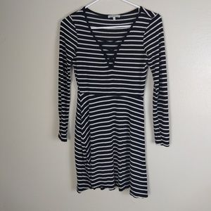 Charlotte Russe Black White Striped Knit Dress S